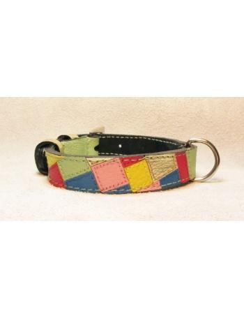""" Fashion Mosaic "" - Unique hand made dog leather collar"