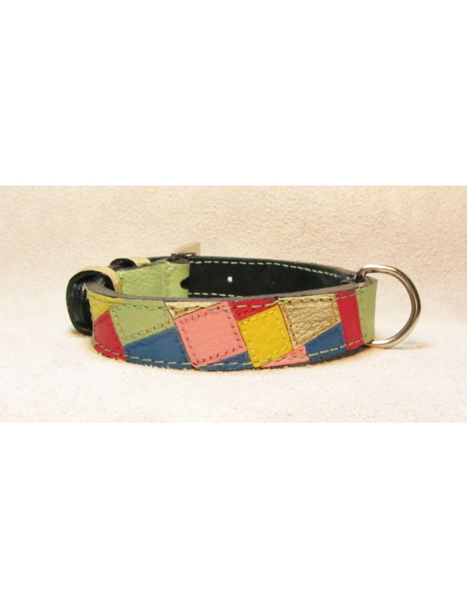 """ Fashion Mosaic "" - Unique hand made dog leather collar"