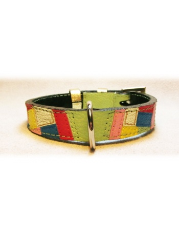 """ Spring Fashion Mosaic "" - Unique Handmade Dog Leather Collar"