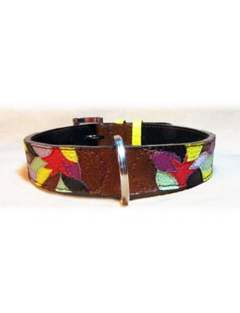 """Autumn Fashion Mosaic"" - Handmade Leather dog collar"