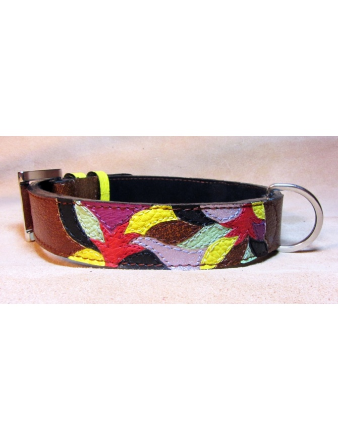 """Autumn Fashion Mosaic"" - Hand Made Leather dog collar"