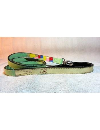"""Spring Fashion Mosaic"" - Hand made dog leather lead"