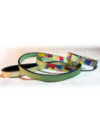 """""""Spring Fashion Mosaic"""" - Ročno izdelana pasja ovratnica in povodec - Set"""