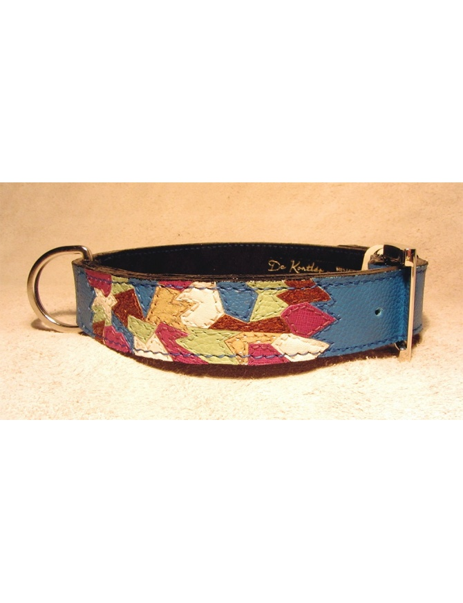 """Winter Fashion Mosaic"" - unique dog leather collar"