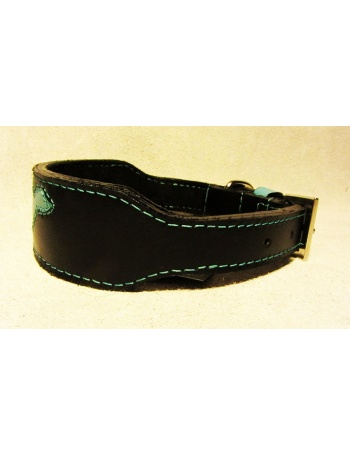 """Black Runner"" - Whippet Dog leather Collar"