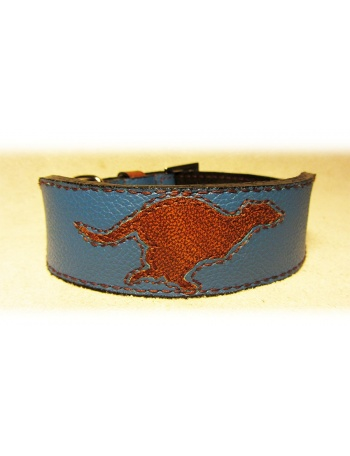 """Blue Runner"" - Greyhound Unique Dog Leather Collar"
