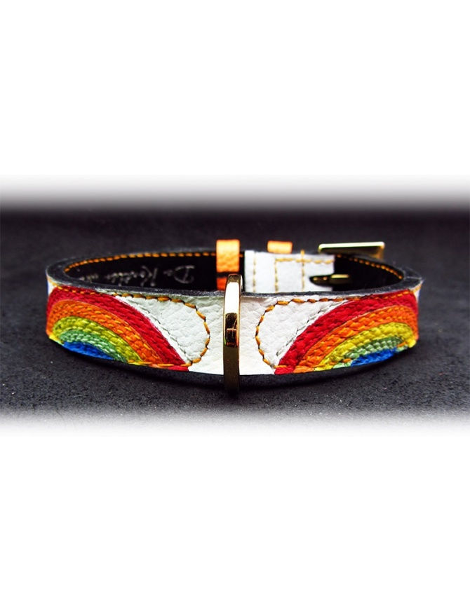 """Rainbow eyes"" - Unique dog leather collar"