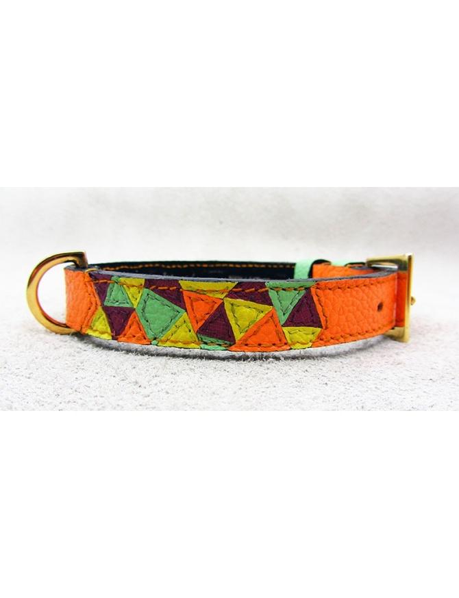 """Summer Mix"" - Handmade Dog Leather Collar"