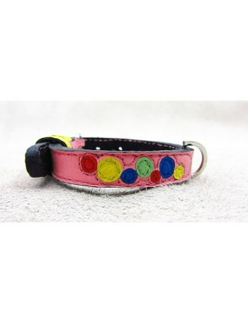 """Bubbles Explosion"" - Handmade Dog Leather Collar"