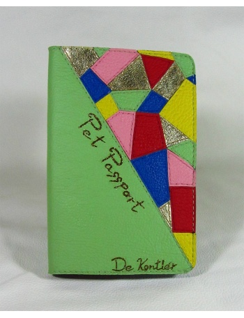 """Spring fashion mosaic"" - unique leather pet passport"